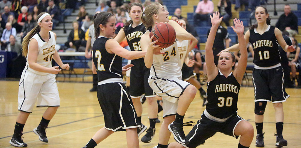 Lady Buffs romp over Radford 74-29 to join boys in Friday night district title matches