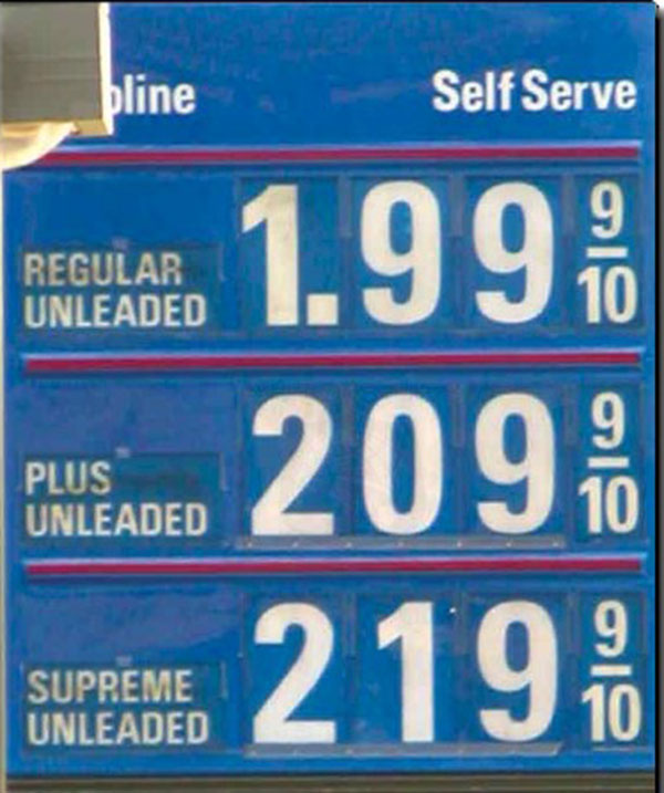 Varying prices at the gas pump